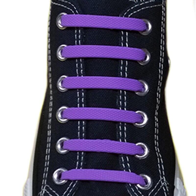 1 par sem laço cadarços elásticos de silicone para crianças e adultos tênis cadarços preguiçosos rápidos 12 cadarços cor