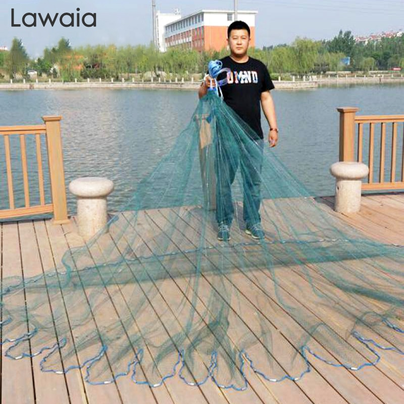Lawaia Hand Throw Fish Net Strong Green Multifilament Fishing Line Cast Nets Diameter 3m 4.2m 4.8m Landing Net Fish