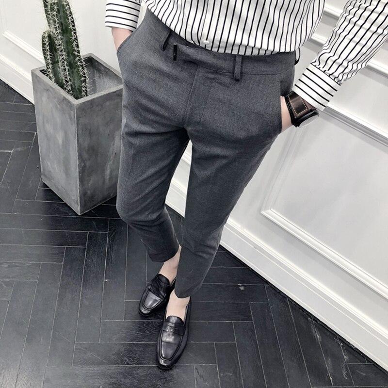 Новинка 2021, стильные мужские весенние высококачественные хлопковые деловые Костюмные брюки/мужские облегающие однотонные брюки для отдых...