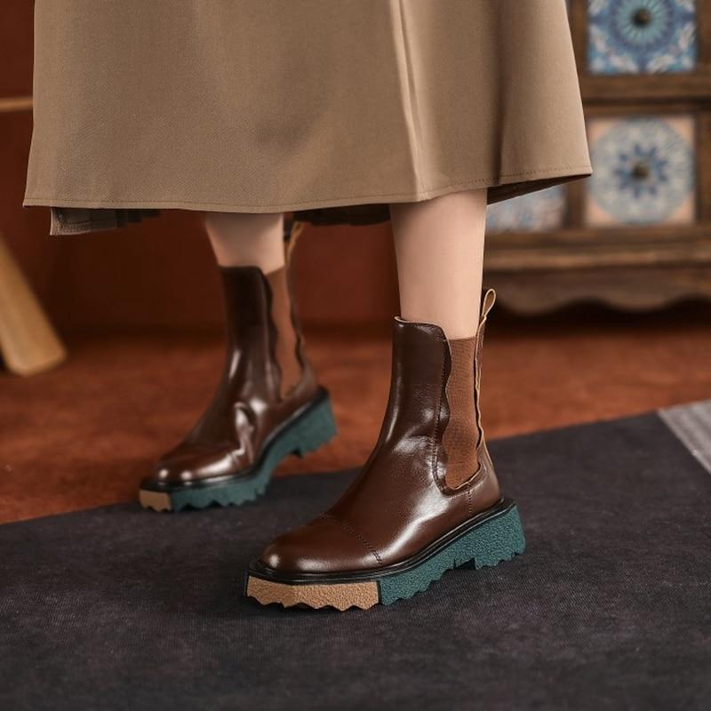 موضة خريف وشتاء 2021 ، حذاء حريمي بكعب سميك ، متوفر بلونين ، حذاء تشيلسي ، حذاء مسطح من جلد البقر للنساء