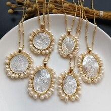 Promotion! Coeur sacré naturel & Guadalupe & San Benito collier de perles de mère collier de perles deau douce pour les femmes et cadeau