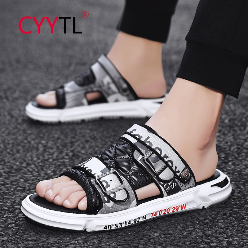 CYYTL Outdoor Leather Men Sandals Breathable Open Toe Shoes Buckle Summer Adjustable Slippers Beach Casual Zapatillas Hombre