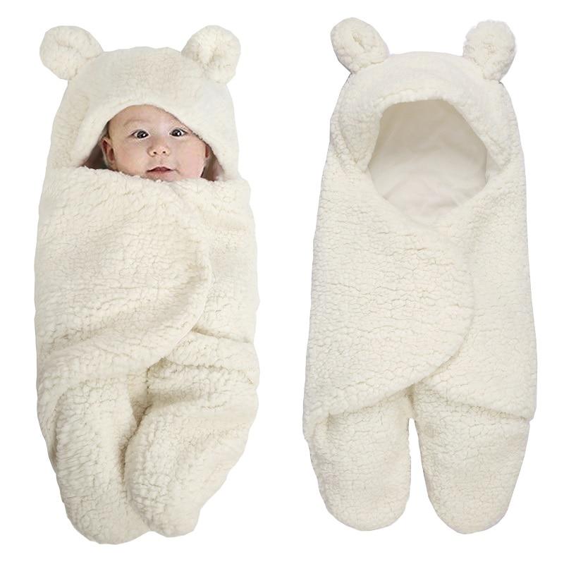 0-6 Months Baby Sleeping Bag Autumn Winter Newborn Warm Velvet Quilt Infant Swaddle Wrap Blanket KF484