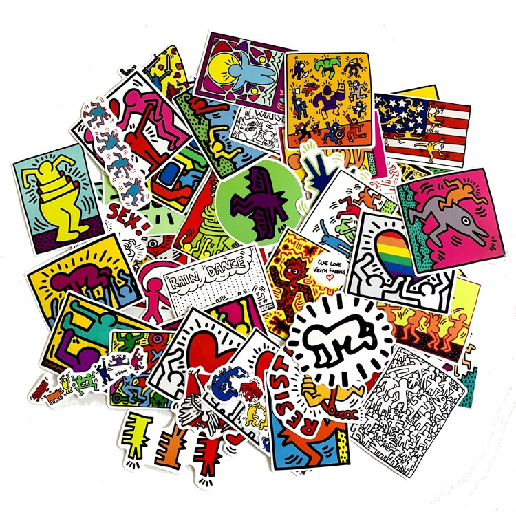 50 unids/lote, pegatinas Keith Haring para calcomanías, Snowboard, portátil, equipaje, coche, frigorífico, pegatina de estilismo para coche