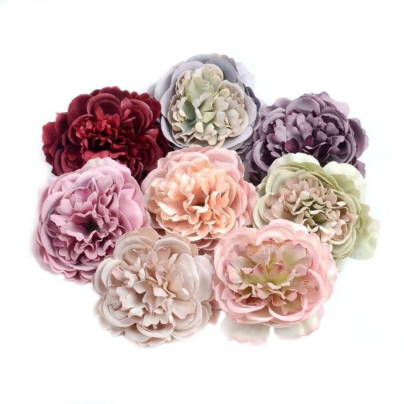 10pcs 8CM Artificial Flower Silk Peony Flower head For wedding Party Home Decoration DIY Flower Wall Gift Box Scrapbook Craf
