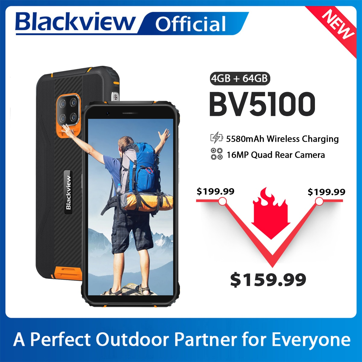 Перейти на Алиэкспресс и купить Blackview глобальная версия BV5100 4 Гб + 64 Гб мобильный телефон IP68 Водонепроницаемый прочный телефон 5580 мАч 5,7 дюймAndroid 10 NFC 16MP смартфон