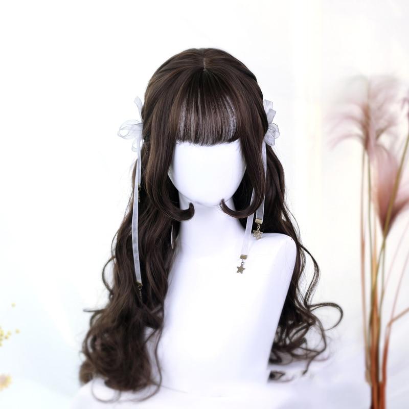 شعر مستعار اصطناعي طويل بني مموج مع الانفجارات شعر طبيعي مقاوم للحرارة شعر مستعار تأثيري اليومية