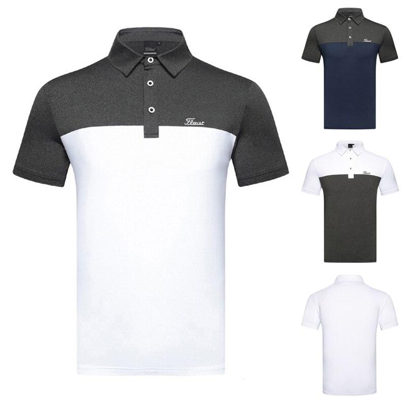 Short sleeve t-shirt men's golf top breathable sweat wicking golf shirt outdoor leisure sports polo shirt
