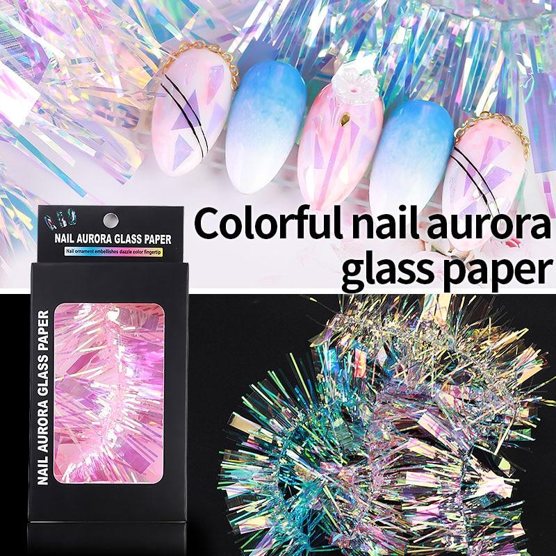 Irregular roto Aurora uñas de efecto espejo papel de aluminio de Vidrio colorido brillo adhesivo de manicura para uñas decoración herramientas de pegatinas