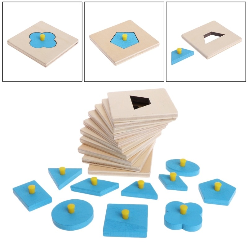Rompecabezas de formas Montessori de 10 Uds., tablero de geometría, juguetes educativos para niños en preescolar