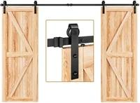 jachor 10ft sliding barn door hardware kit j shape hanging roller rail system double door fittings set barn door accessory