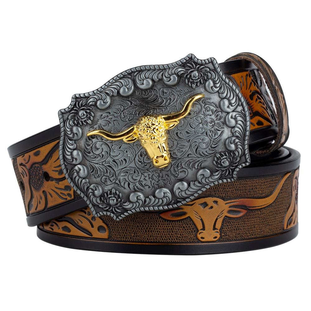 Ox رئيس مشبك جلد طبيعي النقش حزام الفاخرة للرجال موضة الحيوان نمط