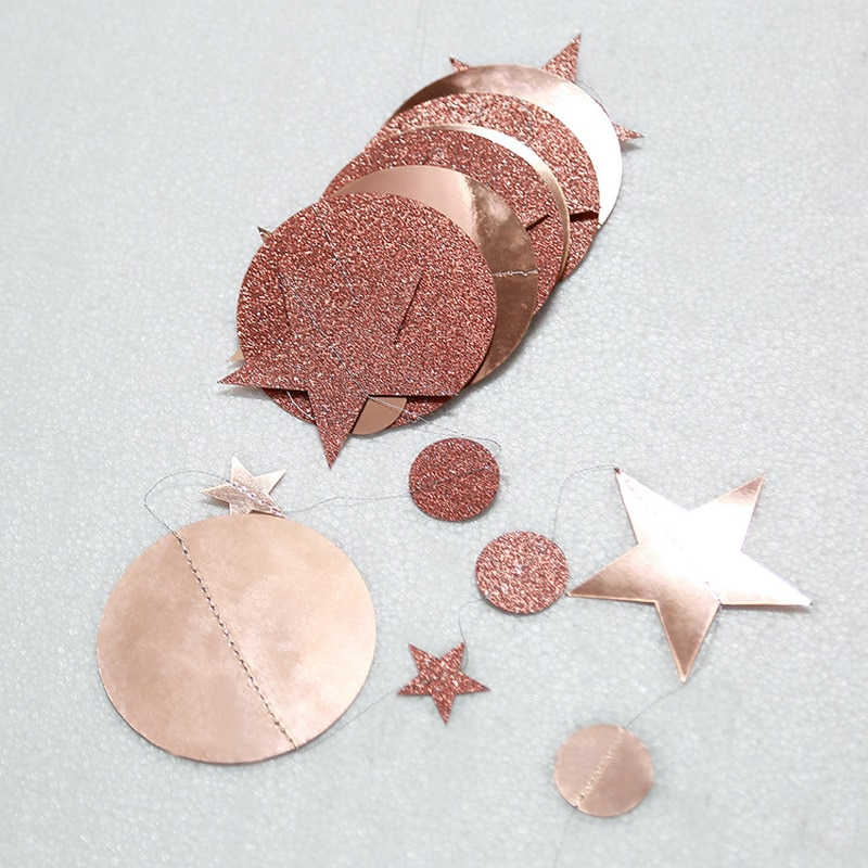4m Rose Glitter Powder Mirror Stars Round Christmas Ornaments Tree Decorations New Year for Home