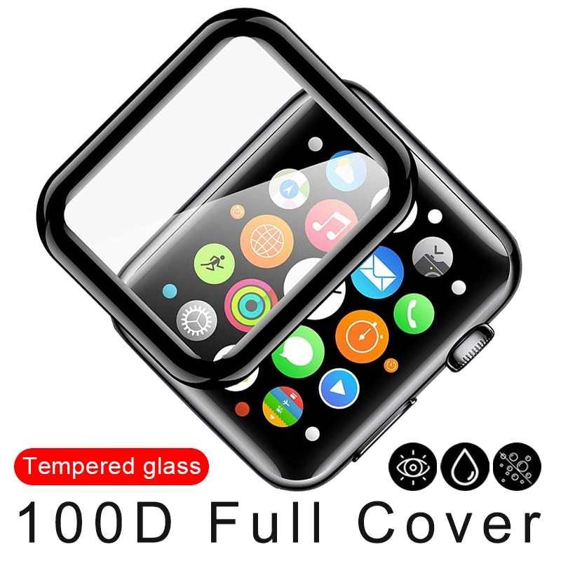 100d curved tempered glass for apple watch series 38 40 42 44 38 42mm hd screen protector film for iwatch 5 4 3 2 1 full glue 100D Curved Screen Protector Tempered Glass for Apple Watch 38 40 42 44mm Protection Film for iWatch SE 6 5 4 3 2 Full Glue