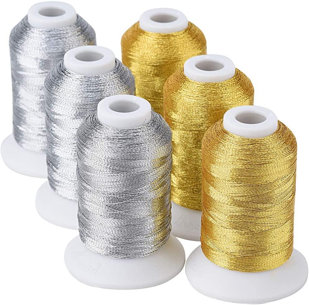 سيمالموضوع 6 بكرات معدنية التطريز آلة الموضوع (3 الذهب 3 الفضة الألوان) 500 متر (550Y) للتطريز عبر غرزة الخ