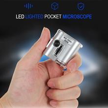 Mintiml LEDกล้องจุลทรรศน์พ็อกเก็ตMiniเลนส์60Xแว่นขยายรังสีอัลตราไวโอเลตเครื่องประดับการศึกษาโฟกัส...
