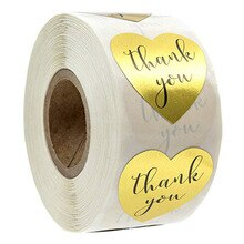 500 Uds. Por rollo de Gracias pegatina dorado para padres, amigos, etiquetas con estilo de corazón para bolsa de negocios, sello de sobre, regalo de recompensa