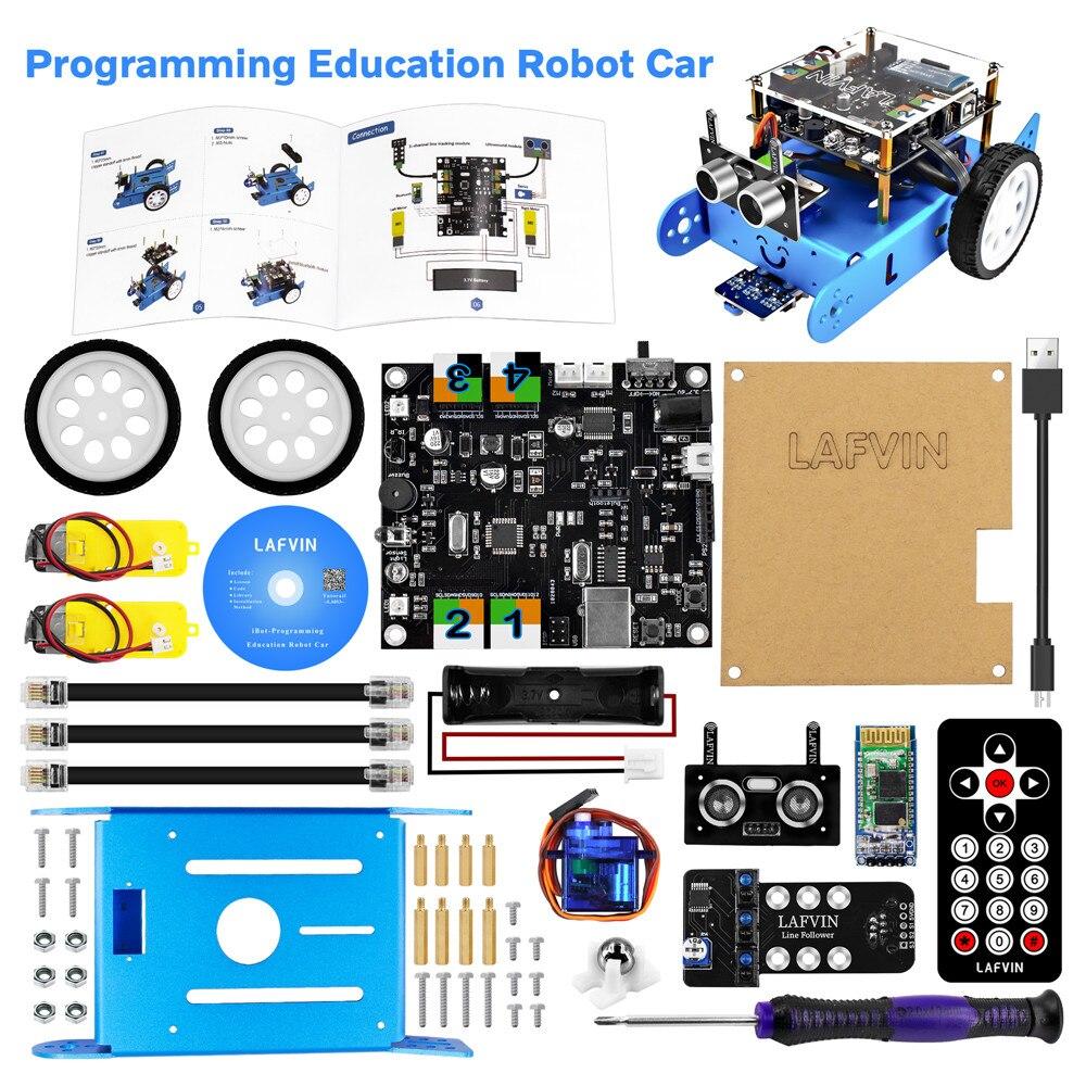 Kit de coche Robot Educativo programable lafwin IBOT para programación gráfica Arduino con Manual de usuario y tutorial de CD