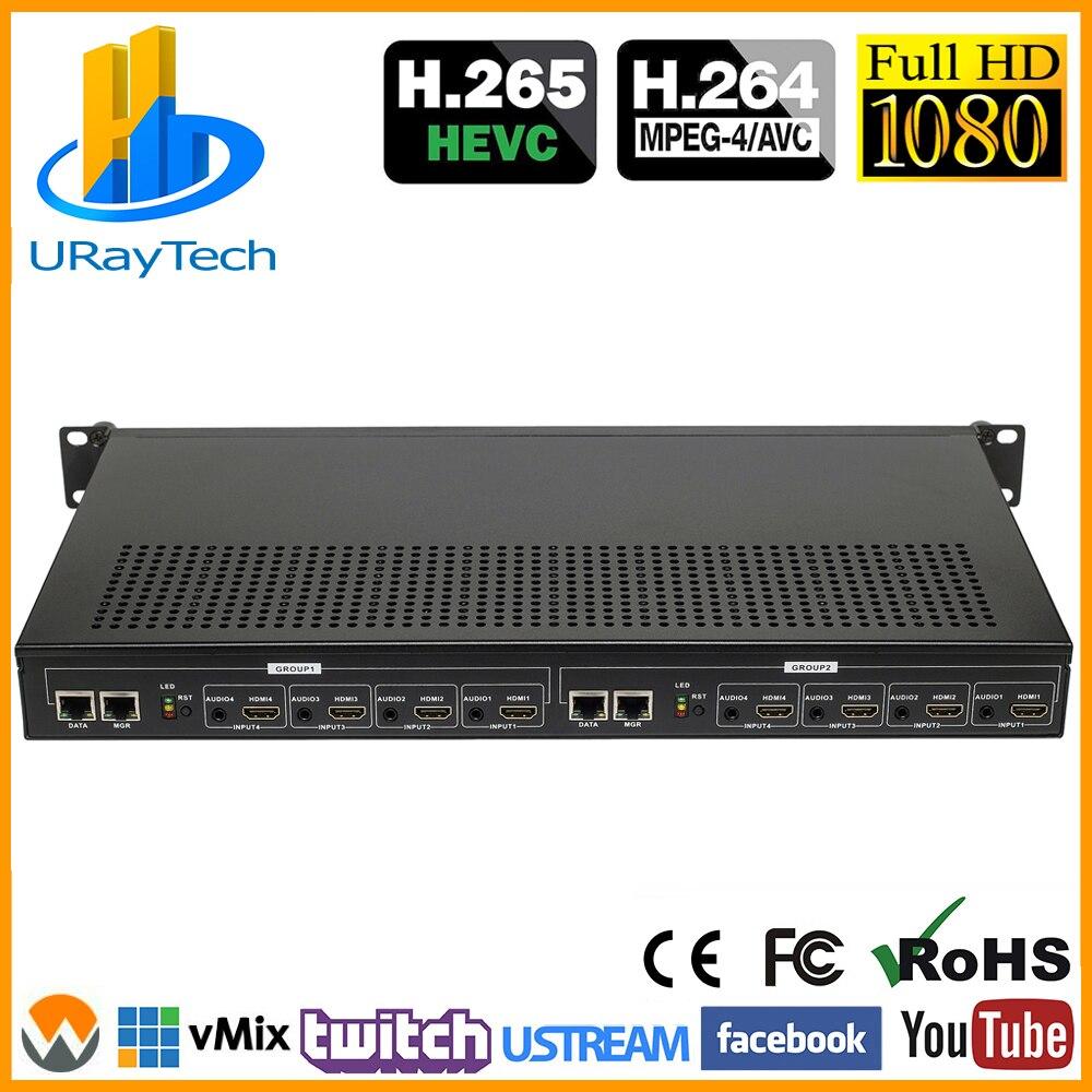 1U Rack 8 Channels MPEG4 H.264 HDMI Video Streaming Encoder H264 Live Broadcast RTMP HDMI To HTTP RTSP ONVIF HLS HD Encoder IPTV