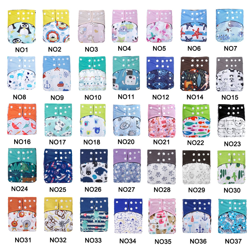 10PCS/Set Double Gussets Cloth Nappy Bamboo Charcoal Baby Diapers Reusable Eco-friendly Diaper Pocket Cover couches lavables fashion cartoon print diaper pocket washable diapers couches lavables baby nappy reusable nappy baby cloth diapers