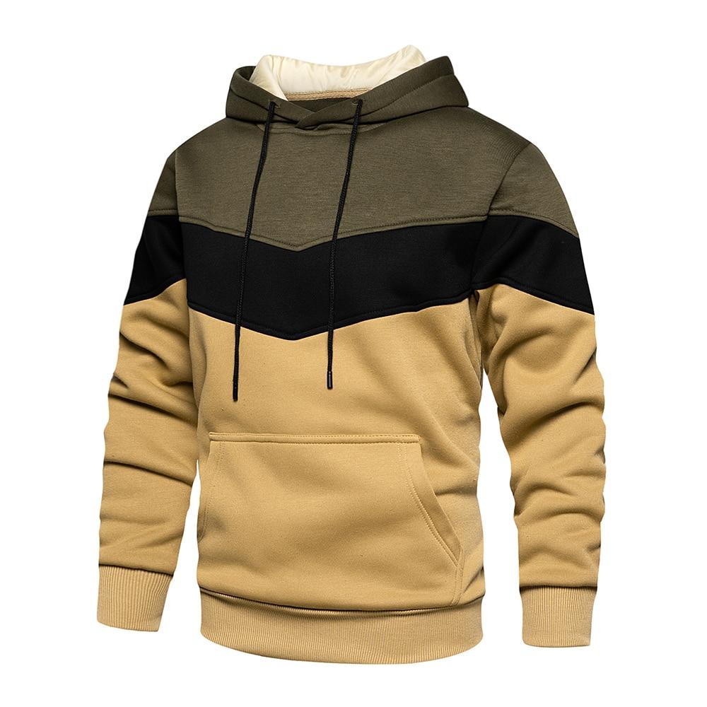 Мужская модная осенне-зимняя верхняя одежда 2021, мужская толстовка с капюшоном в стиле пэчворк, худи, одежда, повседневная свободная Флисова...