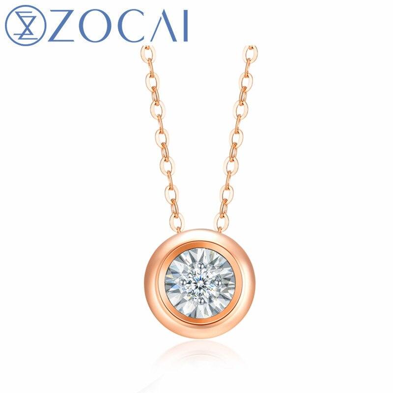 ZOCAI marca Wave Point 18K oro necklace0.03/0,06/010ct collar de diamantes real certificado chocker collar regalo D06607