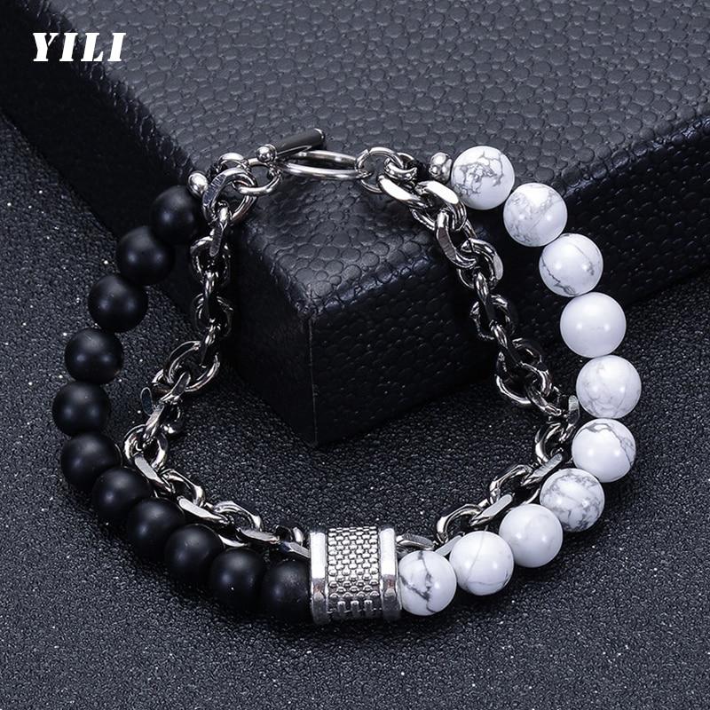 Double Layer Natural Stone Beads Bracelet for Mens Black Matte White Howlite Beads Bracelet Stainles