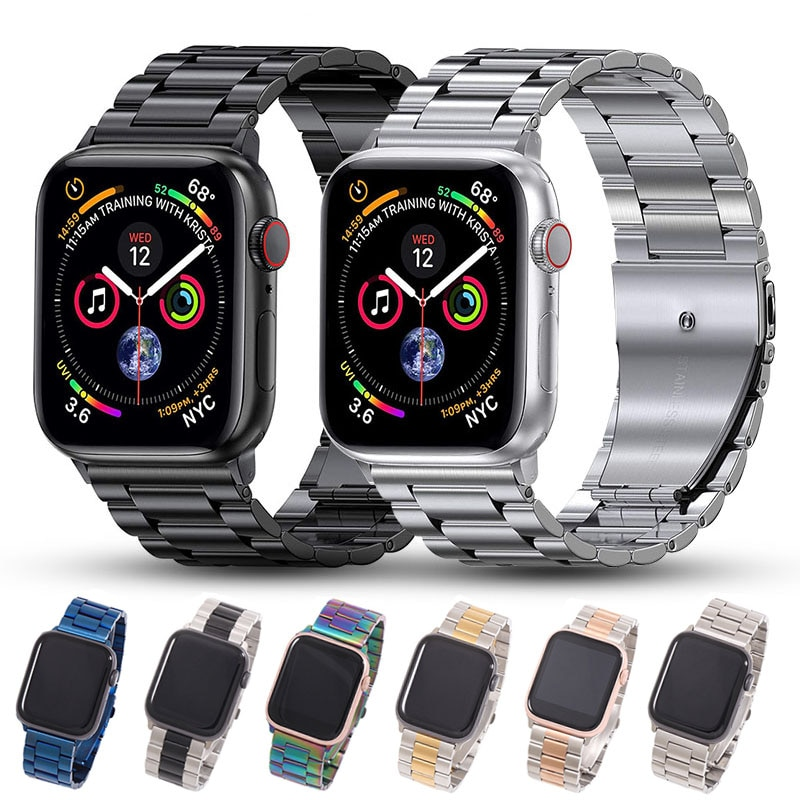 metal strap for apple watch band 44mm 42mm 40mm 38mm stainless steel bracelet for for iwatch 6 se 5 4 3 2 1 series accessories Metal Strap For Apple Watch Band 44mm 42mm 40mm 38mm Stainless Steel Bracelet For IWatch Accessories Series 6/SE/5/4/3/2/1
