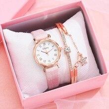 Gaiety Brand 2pcs Set Casual Watch For Women Rhinestone Bracelet Watch Leather Ladies Wrist Clock Si