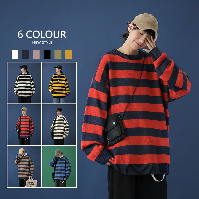 Contrast Stripe Knitted Sweater Autumn Winter 6 Color Men And Women's Pullover Black Red Striped Oversized Sweater Hot Sale