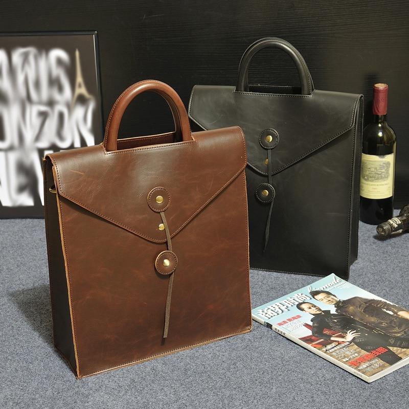 حقيبة ظهر بتصميم عتيق للرجال ، حقيبة مدرسية جلدية كريزي هورس ، حقيبة كمبيوتر محمول ، حقيبة مكتب ، حقيبة كتب غير رسمية