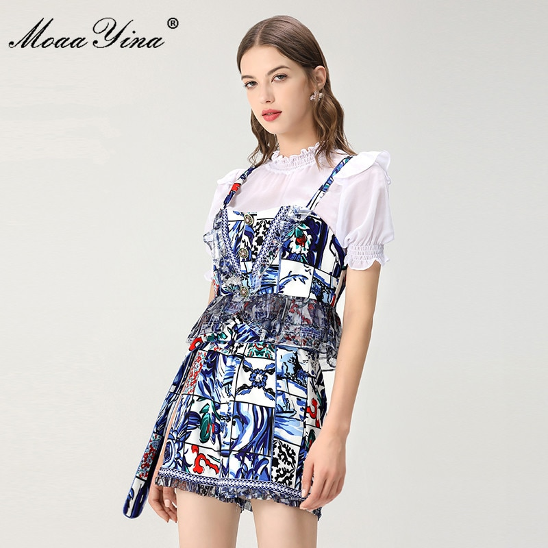 MoaaYina موضة مصمم الصيف جديد دعوى المرأة الأبيض قصيرة الأكمام قميص قصير + بروتيل الأزرق منقوشة السراويل المطبوعة ثلاث قطع دعوى