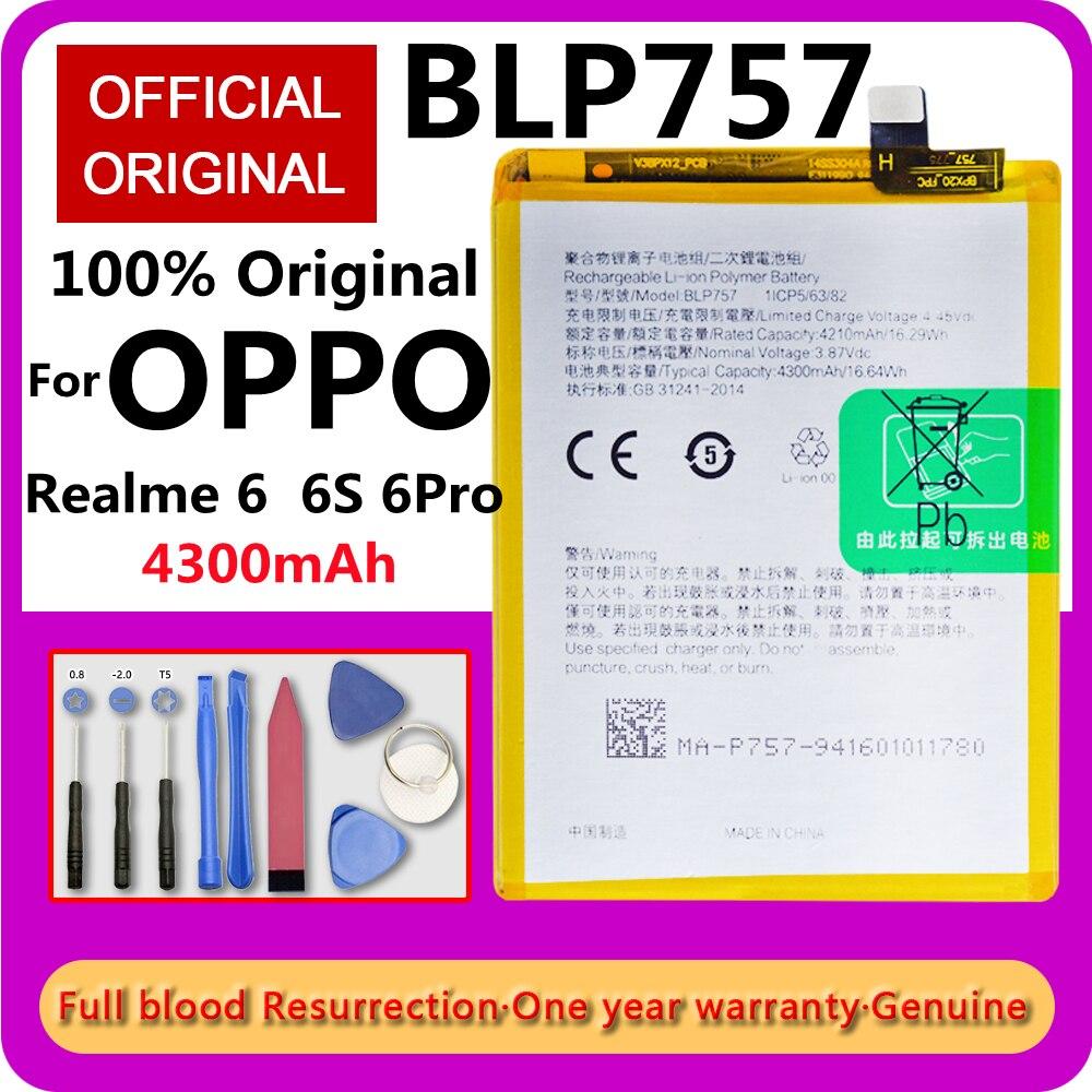 Оригинальный аккумулятор BLP757 для телефона Oppo Realme 6 RMX2001 6S 6Pro RMX2061 Pro, сменные аккумуляторные батареи 4300 мАч