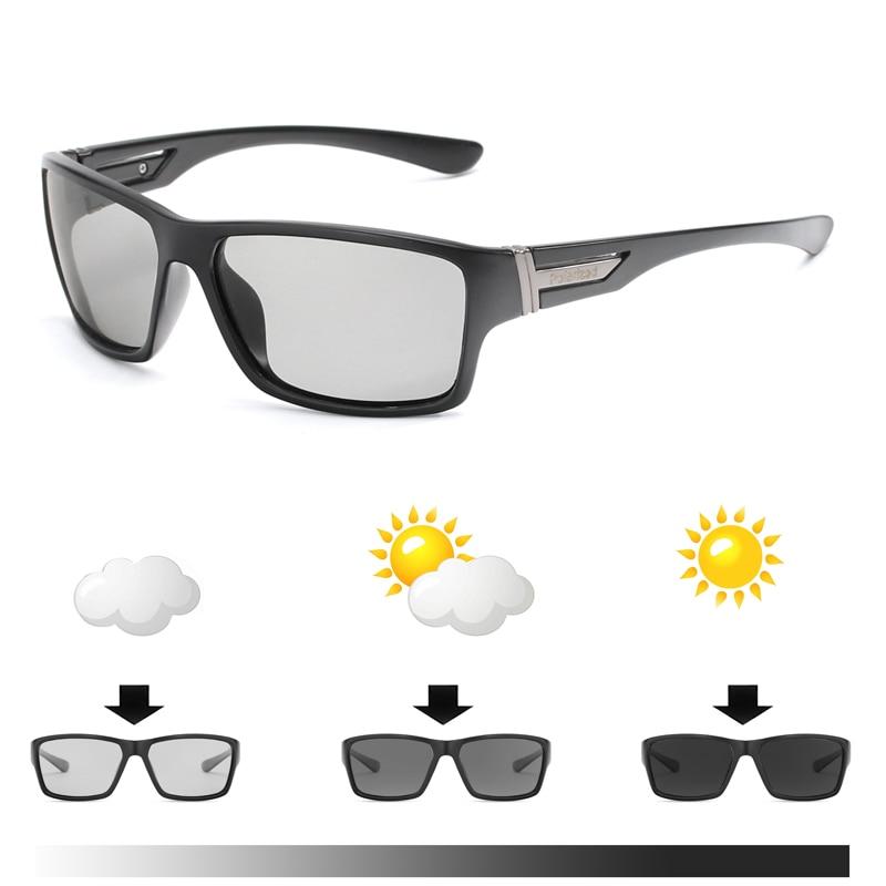 Мужские солнцезащитные очки с фотохромными линзами, поляризационные солнцезащитные очки-Хамелеон, темные очки для вождения, квадратные со...