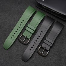 Correa de goma fluorescente para reloj deportivo, pulsera de calidad de 18mm, 20mm, 22mm y 24mm, color negro y verde con barra de resorte de liberación rápida