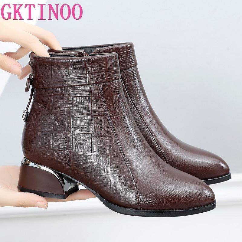 GKTINOO-حذاء نسائي بكعب سميك من الجلد الطبيعي ، أحذية قصيرة بنعل ناعم ، مقاس كبير 35-43