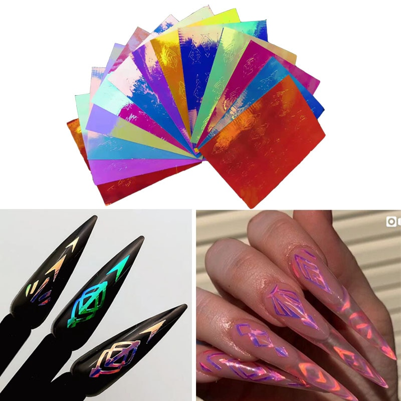 13 unid/set holográfico rombo diseño DIY láser neón colorido adhesivos para manicura 3D adhesivo pegatina manicura pegatina de decoración de uñas
