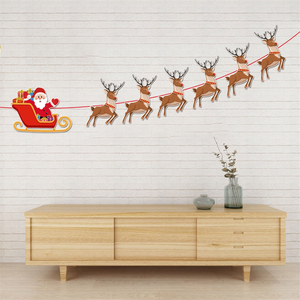 Guirlandas de papel pendurado bandeira decoração banquete decoração bandeira para o natal decoração para casa natal ornamento navidad #25