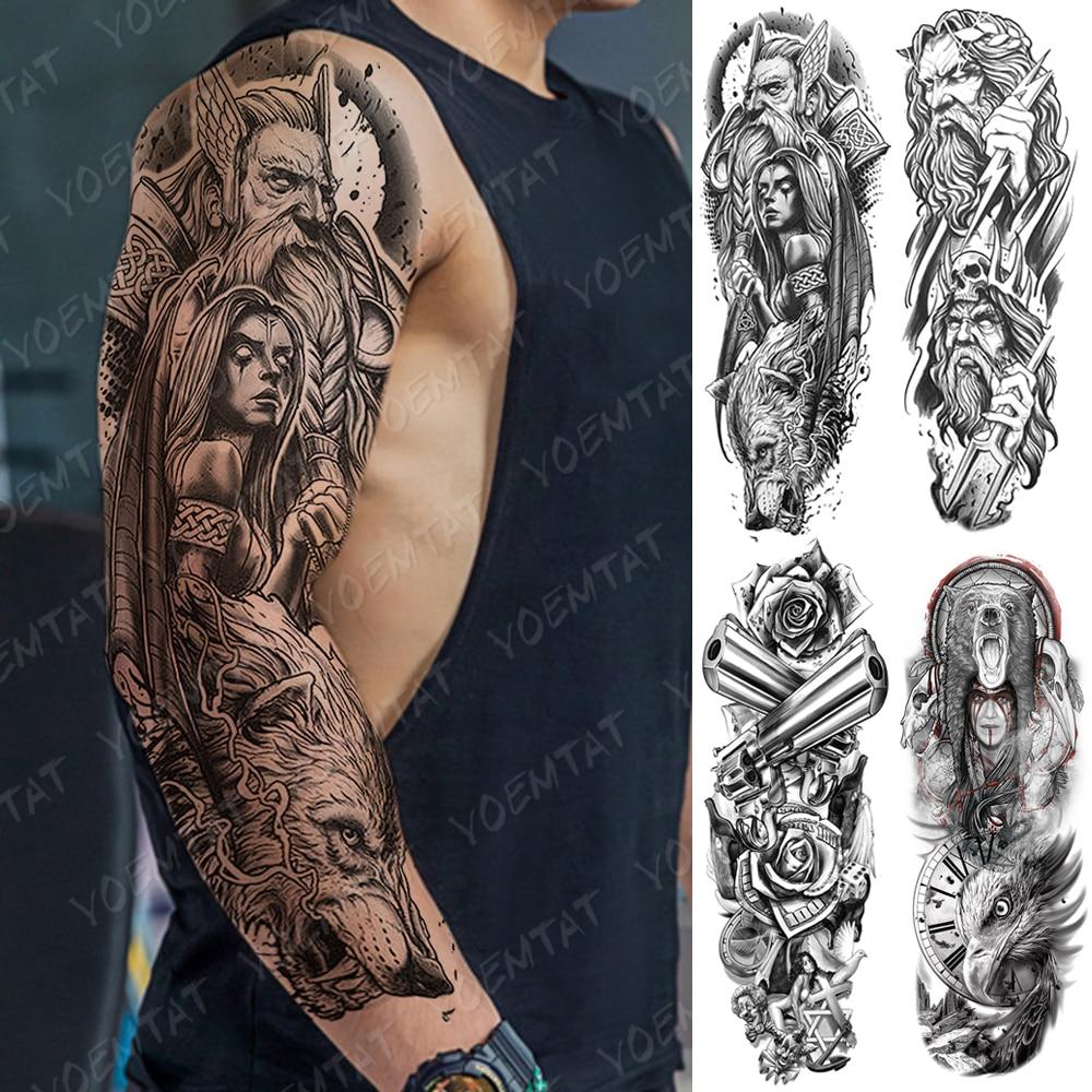 Gran manga de tatuaje para brazo oso cráneo impermeable tatuaje temporal pegatina Dios Jesús Poseidón arte corporal completo tatuaje falso mujeres hombres