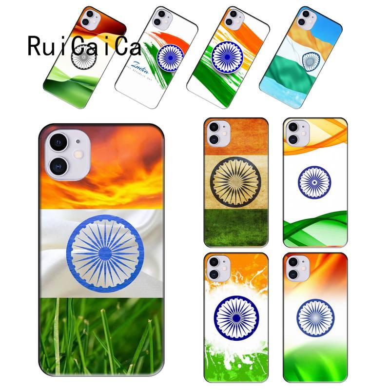 RuiCaiCa bandera nacional de la India negro TPU suave teléfono caso para iPhone 12 8 7 6 6S Plus X XS MAX 5 5S SE XR 11 11 12 pro promax
