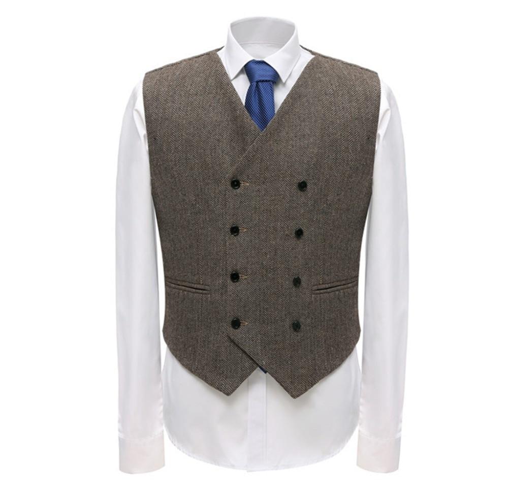 Chaleco de traje de negocios para hombre, chaleco de lana con patrón de espiga de doble pecho para padrinos de boda