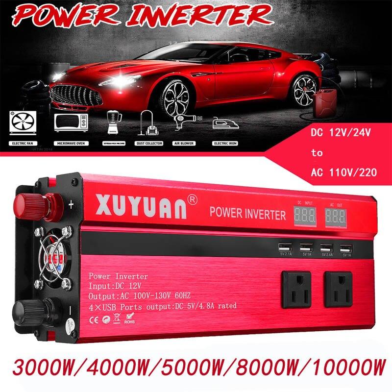 Solar Inverter DC 12/24V Zu AC 110V/220V 3000W/4000W/5000W/8000W/10000W Sinus Welle Konverter Spannung Transformator Ladegerät