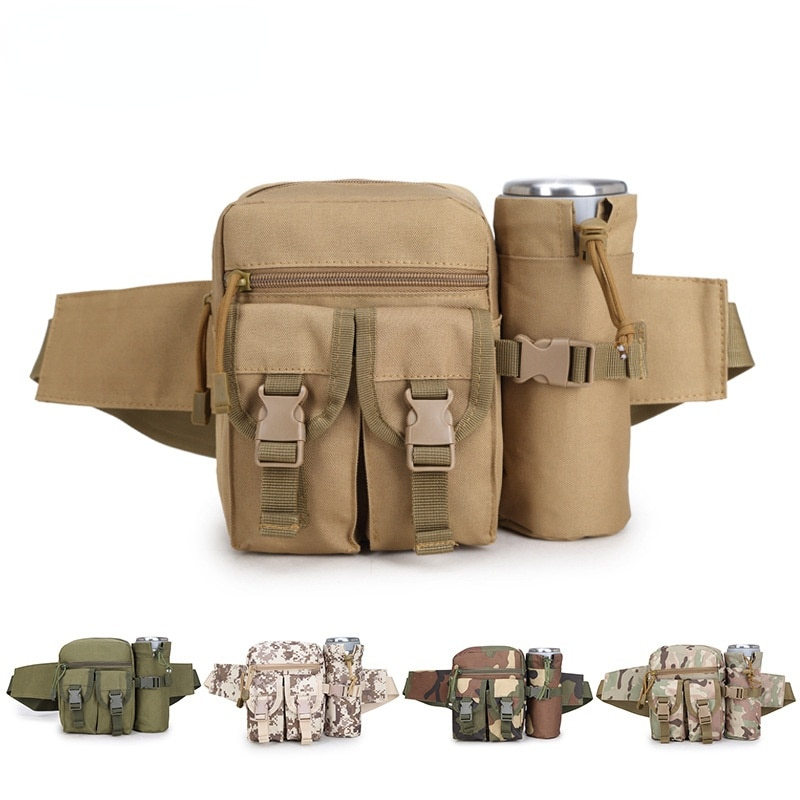 Tactical Kettle Bag Army Fan Outdoor Casual Waist Bag Men and Women Sports Small Bag Camouflage Trav