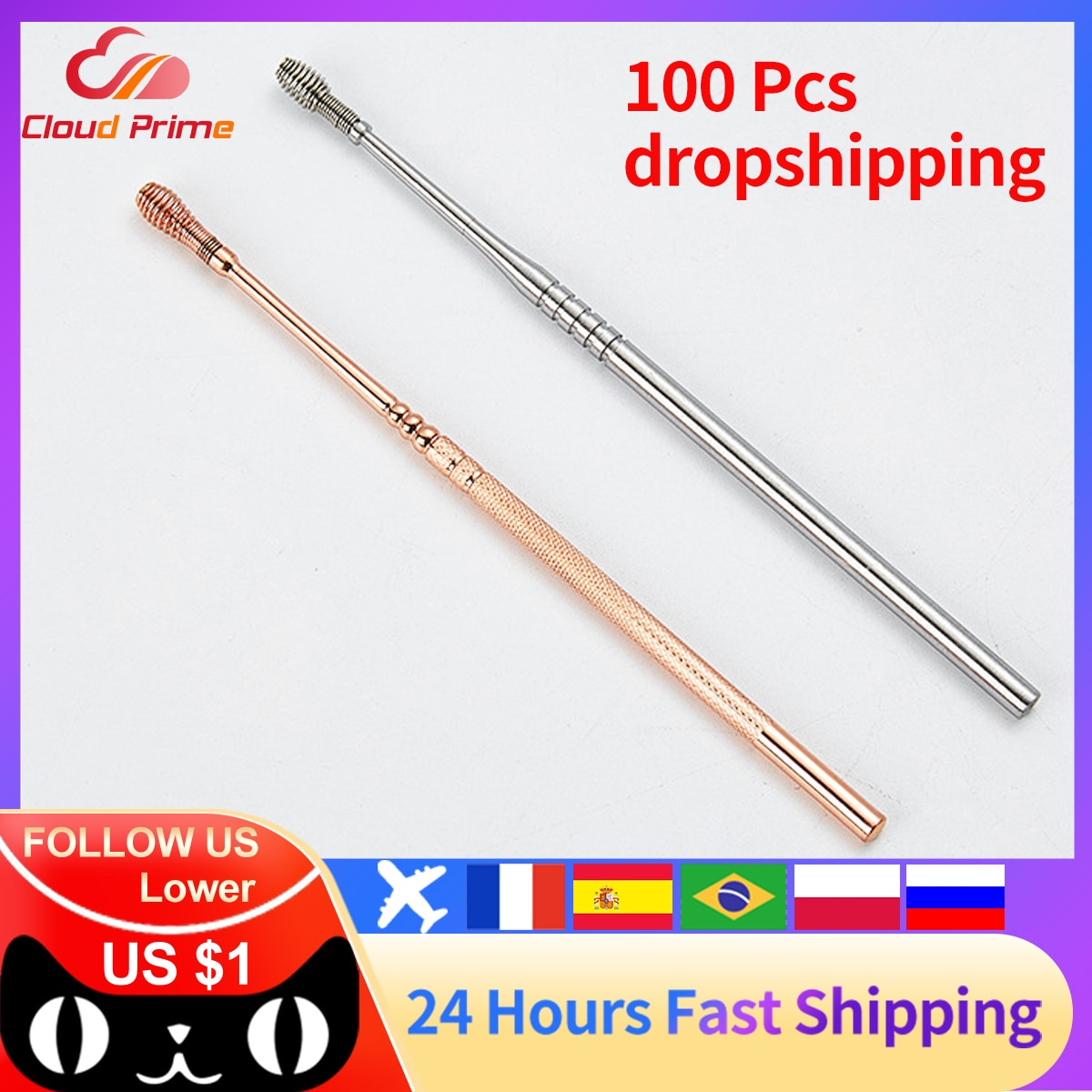 wholesale dropshipping 100Pcs Stainless Steel Spiral Ear Pick Spoon Ear Wax Removal Cleaner Ear Tool Multi-function Portable