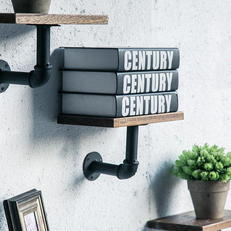 الصناعية الزخرفية رف جدار الحديد رف معلق لوح تقسيم معلق تخزين رفوف مع مجلس المنزل الخشب قوس حامل