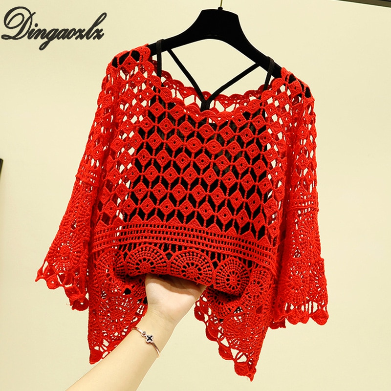 Dingaozlz verano camisa de ganchillo hueco nueva moda Sexy blusa pura coreana suelta mujeres Top de dos piezas