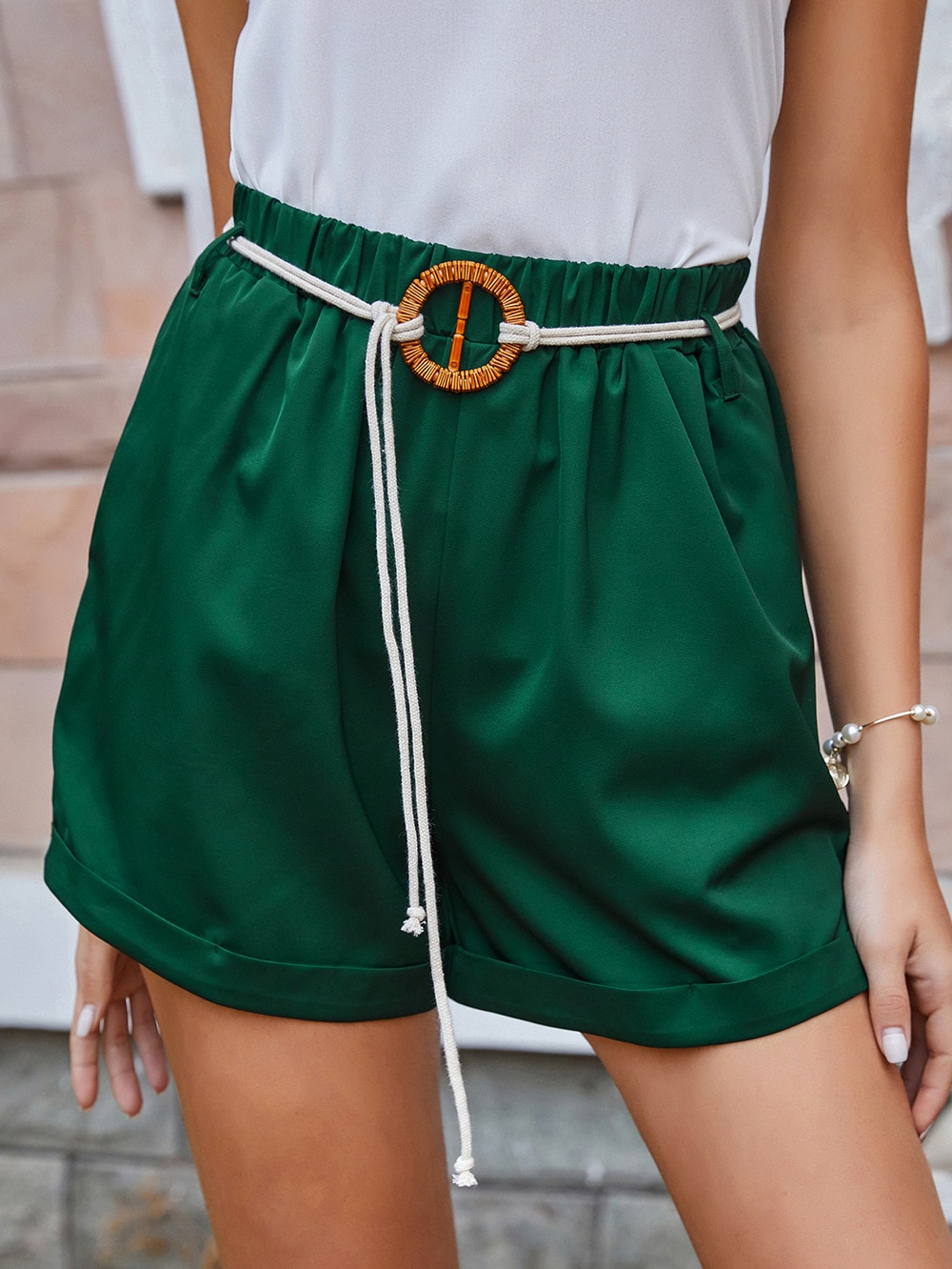 Foreign trade pants women 2021 spring and summer new green with belt mid-waist loose shorts