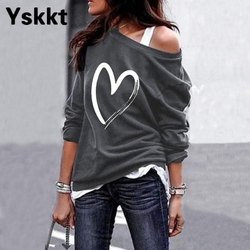 Yskkt Women's Pullover Sweatshirt Heart Printed Long Sleeve One Shoulder Tops Autumn Winter Sweat Shirts Woman Casual Top