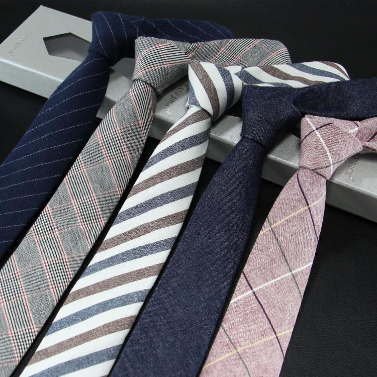 Мужской узкий галстук, версия из хлопка и льна, мужской галстук 6 см, официальная одежда, Деловой, Повседневный, профессиональная работа, проверка, Подарок Папе