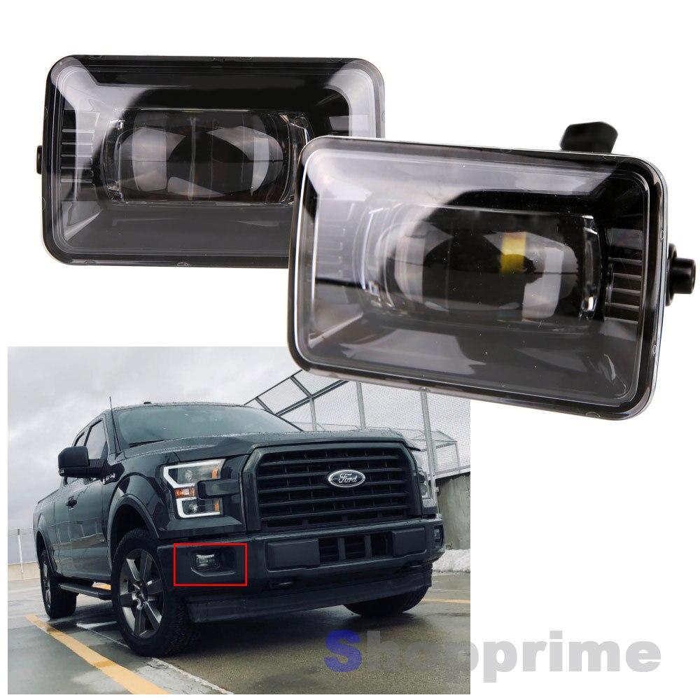2 piezas de lámpara auxiliar para 2015 2016 2017 2018 Ford F150 proyector LED antiniebla reemplazo lente clara 5500K para Ford F150